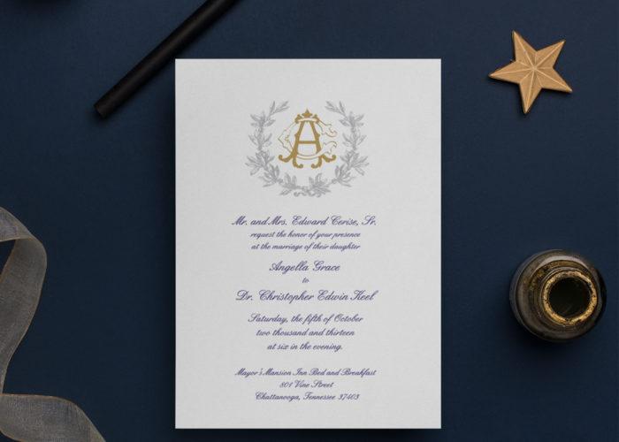 monogrammed themed wedding invitation